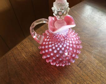Cranberry Opalescent Hobnail Cruet with Stopper, Vintage Fenton Art Glass, Vinegar Oil decanter, home decor, perfume bottle