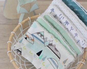 Washable Washcloths/wipes, Mint Woodland, set of 12