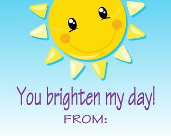 Sunshine Sun Valentine Cards Print at Home File