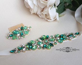 Green bridal belt, fairy wedding, green sash, luxury bridal sash, green bridal sash, bridal belt, couture belt, wedding belt, bridal set