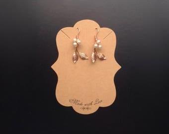 Boho Rose Gold Plated Earrings - Bridal Earrings - Pearl Earrings - Gifts for Her - Bridesmaid Gifts, Dangle Earrings - Style 3 Earring (RG)