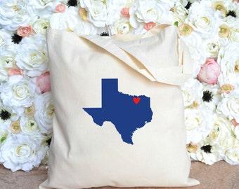 Texas with Heart Tote - Bachelorette Party Tote - Wedding Tote - Dallas - Austin