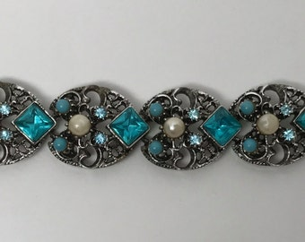 1960's Vintage Antique Turquoise Rhinestone & Pearls Bracelet