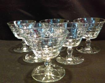 Star of David Champagne Sherbet Glasses, Champagne coups, Sherbet Glasses, Stemware Set of 6, 1940's  (1302)
