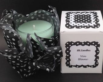 """Handmade scented candle....with the lovely fragrance of """"Vin Blanc""""."""