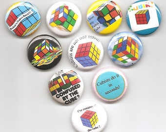 I Love The Rubiks Cube Fun  Set of 10 Pins Button Badge Pinback