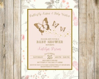 BUTTERFLY BABY SHOWER Invitation, Gold Blush Pink Baby Sprinkle Invite, Whimsical Butterflies Baby Girl Shower Invites, Floral Garden Party