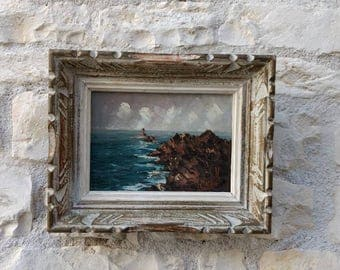 Small French vintage maritime signed and framed painting by re-knowned painter Jean-Claude Helou.