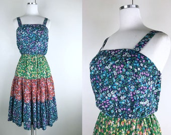 1970s 1980s Blue Green Red Floral Print Spring Dress // 70s 80s Shirtdress with Tiered Peasant Skirt Flower Child