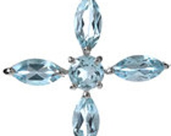 Sterling Silver Blue Topaz Gemstone Cross Pendant Necklace