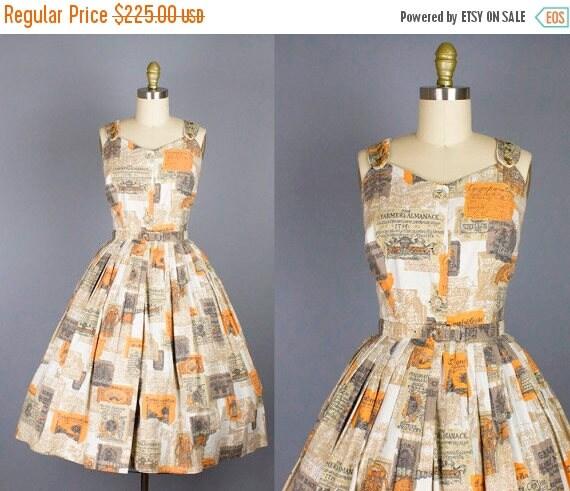 SALE 15% STOREWIDE 1950s novelty cotton sundress/ 50s print dress/ extra small xs