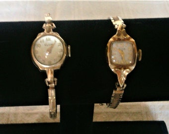 Two Vintage Mid Century Gold Plated Elgin Women's Watches For Repair or Parts