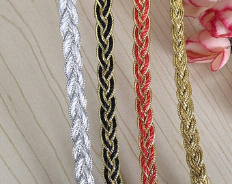 10 Yards GOLD White Black Red Braided Cord Lace Trim 0.8cm Wide