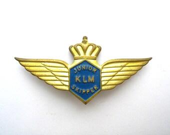 Vintage KLM Junior Skipper wings badge, stewardess airlines travel pin