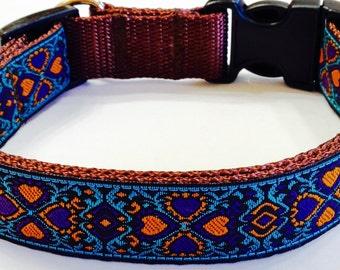Dog Collar: Gorgeous New Jacquard Turquoise/Brown Ribbon Designer Dog Collar, Stunning Design,Pet Supply, Pet Gift,Gorgeous, Veterinary Gift