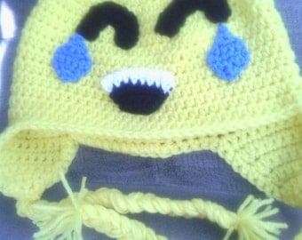 Crocheted emoji laugh til you cry hat,crocheted character hat,child winter hat,adult winter hat,costume hat,handmade,made to order
