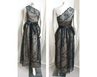Gorgeous Vintage 1970s ALBERT NIPON Evening Dress Black Lace One-Shoulder UNWORN