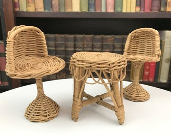 doll dining set wicker chairs wicker set dollhouse miniatures dollhouse set