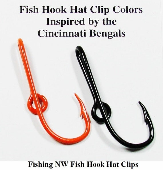 Cincinnati bengals inspired colored fish hook hat by fishingnw for Fish hook for hat