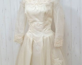 Vintage 50s ivory silk chiffon Wedding Dress