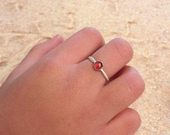 Ring Mini cash Massif and fine - Garnet stones