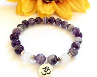 """Banded Amethyst Snow Jade and Silver """"Om"""" Bracelet, Yoga Bracelets, Meditation Bracelets, Healing Crystals, Gift Ideas for Her"""