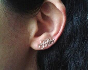 Earcuffs, ear crawlers, ear cuffs, silver ear jackets, ear climbers, cool ear jackets, ear sweeps, cute earring cuffs, contemporary jewelry