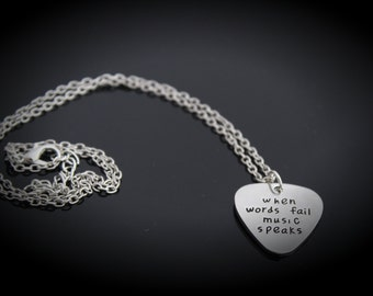 "Guitar Pick Necklace - ""When Words Fail Music Speaks"""