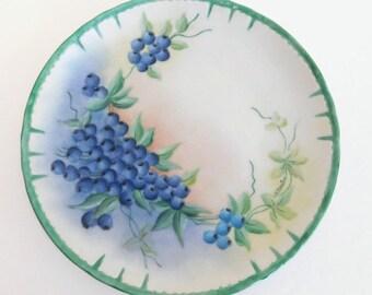Vintage Artist Signed 7 1 2 Porcelain Plate Featuring Hand Painted Blueberries Vintage