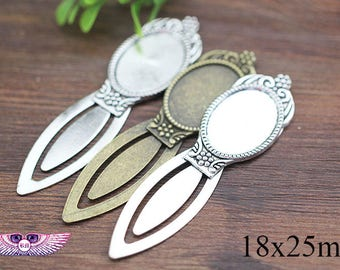 25x18mm Antique BookMark Blank - DIY Bookmark Findings - Oval Gass Pendant Base - Bookmarks Pendant Setting PC61102