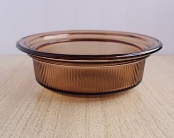 Vintage Pyrex Vision Casserole Dish V-30-B - Small Pyrex Ribbed Visions Casserole Dish 24 Oz - Pyrex Visionware Casserole Dish Amber - Brown