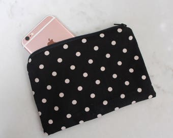 Black & White Polka Dot Zippered Small Zippered Pouch