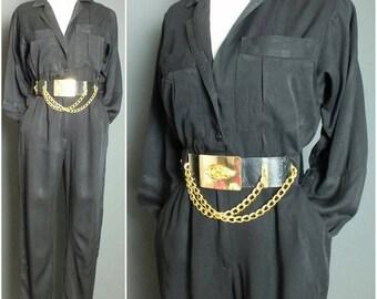 Vintage  80's Glam Simple Black Disco Jumpsuit Romper Party Pantsuit XS/S