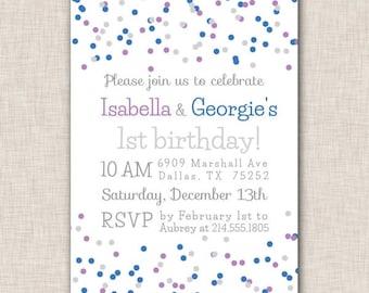 Birthday Party Invitation, twins birthday invitation, twin birthday party invite, purple and blue confetti, boy and girl twins invite (032g)