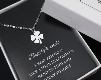 Best Friend Necklace , Four Leaf Clover Necklace, Best Friend Gift, Bridesmaid Necklace,Bridesamid Gift, Friendship Necklace,Sterling Silver