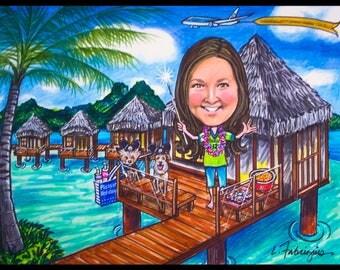 Custom caricature, retirement gift, retirement women, retirement men, portrait caricature, personalized portrait, vacation portrait,P