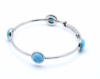 Larimar Four 10mm Adjustable Bangle Bracelet .925 Sterling Silver