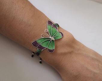 Bracelet Butterfly in silver and fire enamel