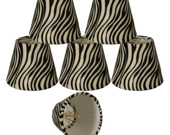 "5"" Black & White Zebra Print Chandelier Lampshade - 3 x 5 x 4.5 (double clip) (CS-961-5)"