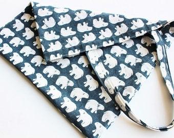 Polar Bear shopping bag, Burlap tote bag, grocery bag, market tote, Burlap bag
