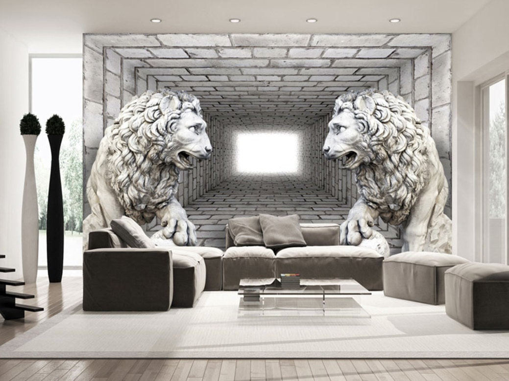 Photo Wallpaper Wall Murals Non Woven 3D Modern Art Optical Illusion Abstract Lions Decals Bedroom