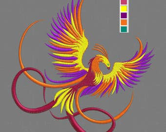 Embroidery design Phoenix bird 5x7""