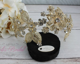 Flexible Gold Bridal Wreath with Swarovski and Fresh Water Pearls,  Bridal Headband,