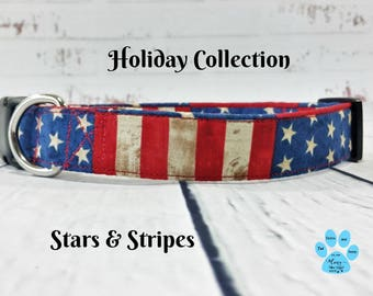 USA Custom Dog Collar, American Flag Dog Collar, Stars and Strips Dog Collar, Patriotic Dog Collar, 4th of July Dog Collar, Flag Dog Collar