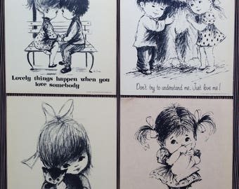 Moppets Art, Big Eyes, Four, UNUSED, Black and White, Boy, Girl, Cat, Dog, Stina, 1970's Large Post Cards, Heavy Weight, Easel Back or Hang