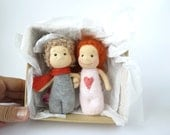 Miniature pocket size art dolls in the box ooak doll couples ready to ship children gift adult gift