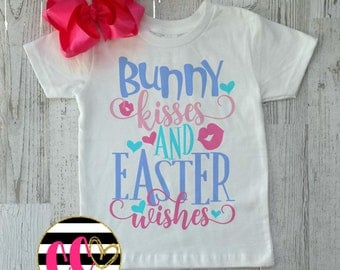 girl easter shirt. bunny kisses and easter wishes. double stacked bow. baby girl easter outfit