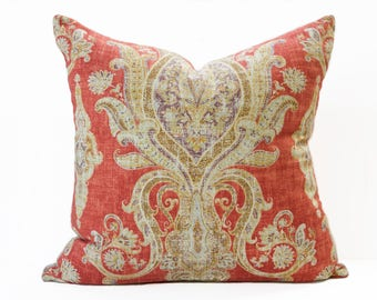 Persian style linen pillow cover - Burnt Orange and Gold pillow - Shabby Chic linen pillow - Boho pillow - Dark Orange Pillow - Rust pillow