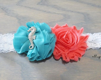 Pink and Teal Headband - Baby Headband - Pink and Teal Flower Headband - Seahorse Headband