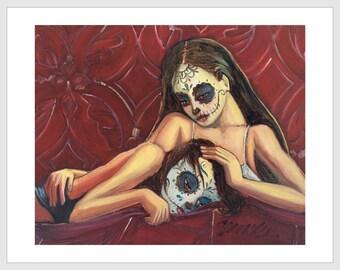 Los Hermanas 11x14 Signed Day of the Dead [Dia De Los Muertos]  Print by NM artist Sean Wells// Sisters